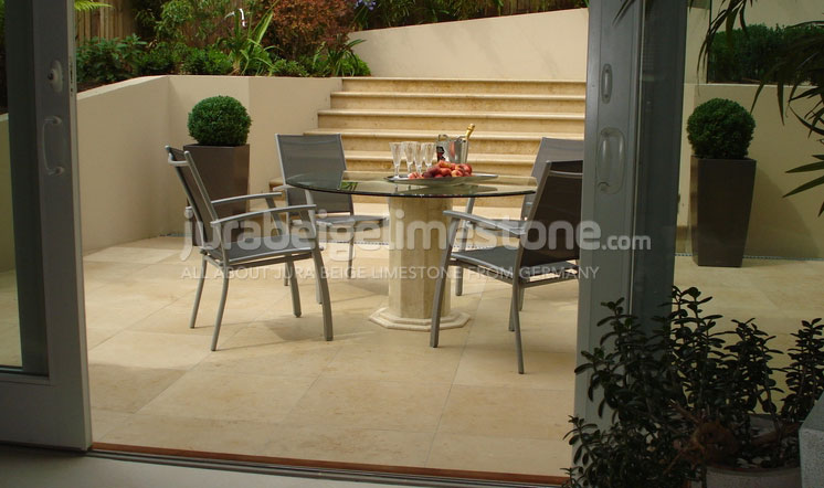 Jura Beige limestone garden paving - London