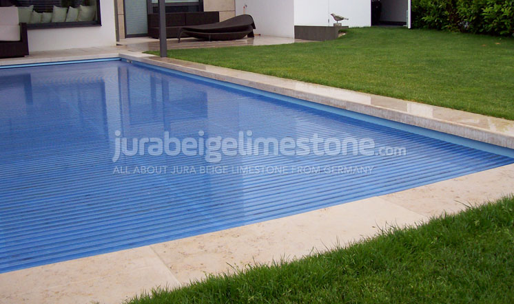 Jura Beige limestone pool borders - UK