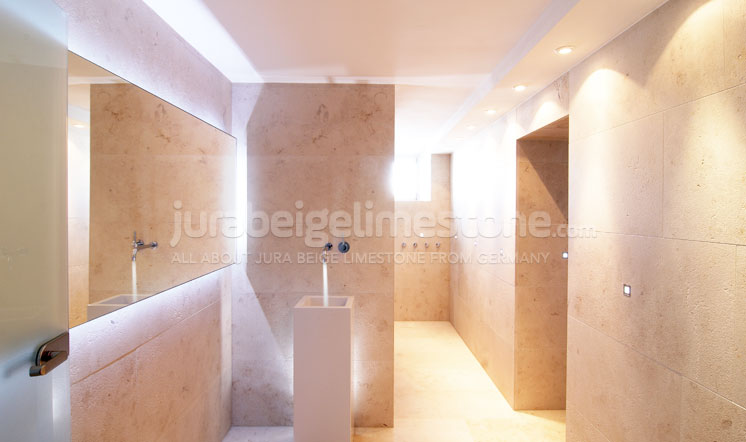 Moleanos Beige limestone bath decoration